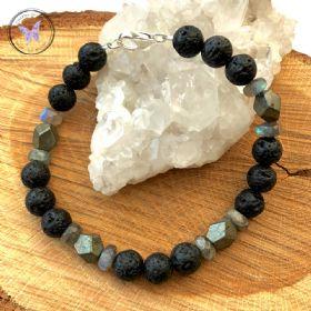 Men's Lava Stone, Labradorite & Pyrite Healing Bracelet